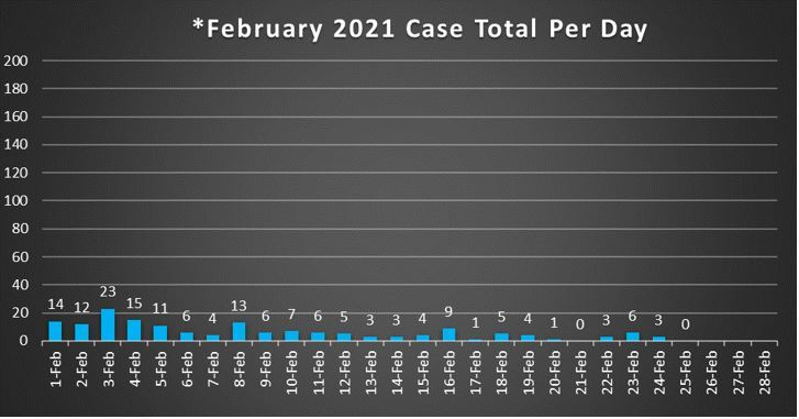 February 2021 Case Total Per Day 2-26-21
