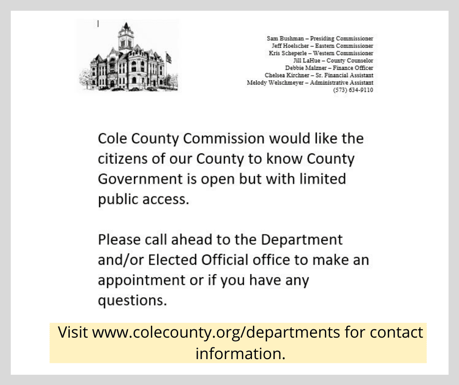Announcement that Cole County Offices are Open by Appointment